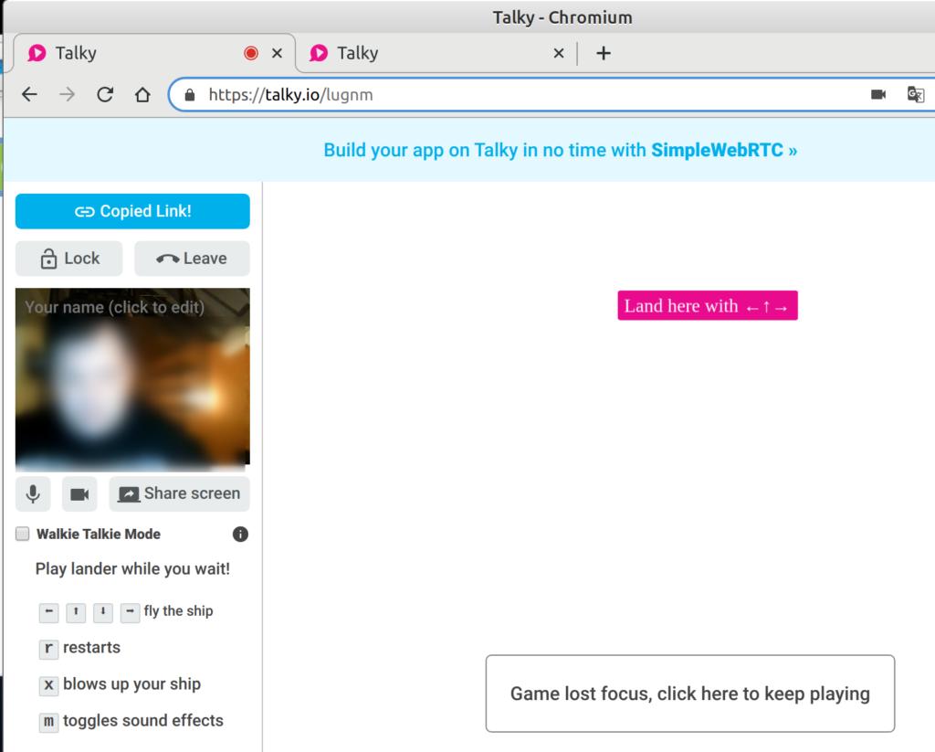 Talky - Linux Desktop mit Chromium